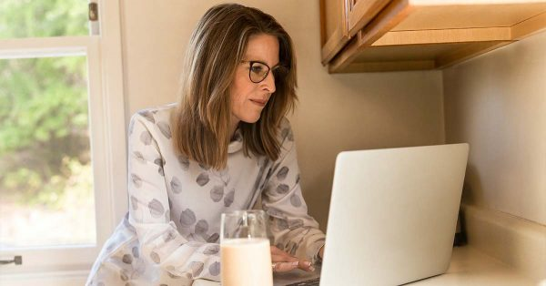 Woman remote working from home
