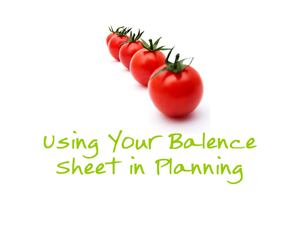 Use your balence sheet in Planning
